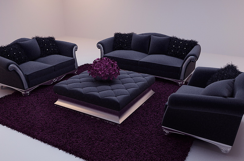 negro suave sof modelo 3d incluyendo materiales 3d. Black Bedroom Furniture Sets. Home Design Ideas
