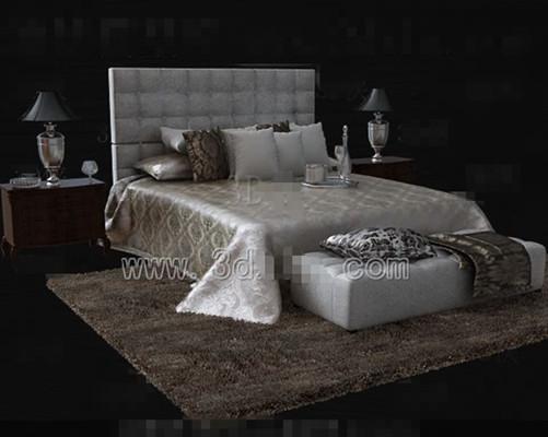 Silver brown cama doble de lujo 3d model download free 3d for Cama 3d autocad