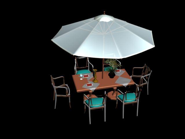 Mesas y sombrillas de cartera 3d model download free 3d for Sillas para 3d max